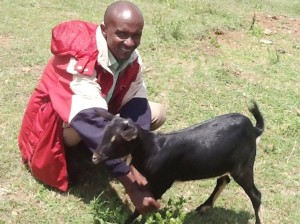 """""""I am very thankful to people who are so mindful of us this much. For me, receiving this goat means a lot. From this time, I get a job to look after this goat and in return it will provide answers to my poverty related problems. So many thanks to donors."""" Celestin Habumugisha"""