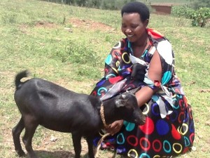 """""""What a beautiful goat! This is going to be such a great help in my family. I am so happy to own it. I am grateful for the heart and love our donor have to us."""" Odette Mukarukundo"""