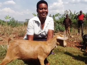 """I feel I am now part of my community, participating into development programs. This goat will play a big role in my family. I already see money to solve my family problems. A big thank you to someone who donated this goat to me."" Mediatrice Musanabera"
