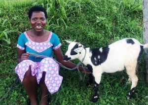 """We can no longer say we don't have husbands. Our donors are there, playing a great role in our lives. I can't wait to bring this cute goat home. My son really likes goats. He will be so happy!"" Francoise"