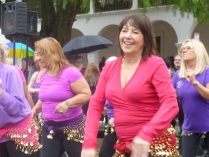 MICHELE LENABERG: This was my 3rd year dancing with the group at the MLK event at De La Guerra Plaza. Yes, we were dancing in the rain and we did get wet, but the enthusiasm of the crowd made it all worthwhile.