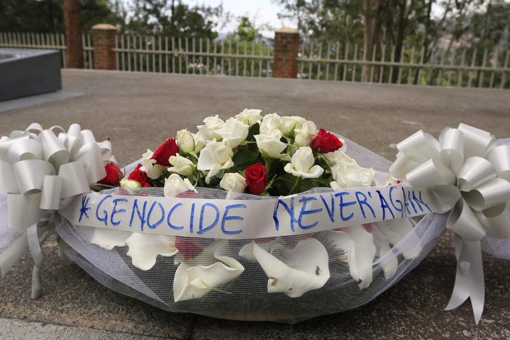 Bouquet of flowers pictured in Kigali Genocide Memorial grounds in Rwanda