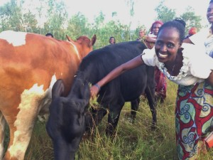 "Valerie: ""It brings me much hope and joy to see how our cow project is expanding, our future is so much ensured and it's going to be brighter. We so much thank our donors who are always concerned about our life change in every step we make toward our brighter future. Together the journey becomes shorter."""