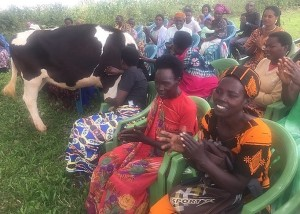 """Veneranda (red dress): """"It is such a pleasure to have cows, especially for the people of my age. We all know what a cow means in our lives. We thank our All Saints donors!"""""""