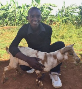 """Athanase: """"We have been dancing during people's parties to earn some money, but this business is seasonal. For us these goats are like a back-up. We will no longer be worried about seasons because we have alternative business. Our farming is going to be very possible and successful because of this livestock support. My words are not enough to thank our sisters who sent us these goats."""""""