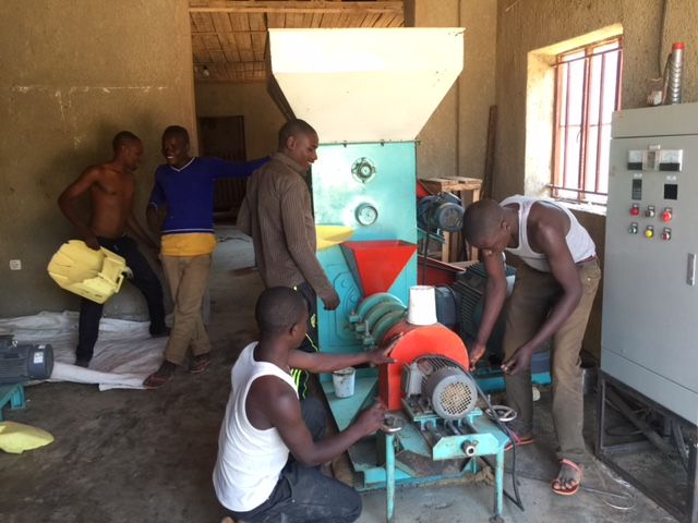 Our KUNGABU FISH FOOD MACHINE was built in China, shipped to Tanzania, and brought overland to Rwanda. It is now fully operational, producing food for the Tilapia fish farm. It's the first machine of its kind in the country!