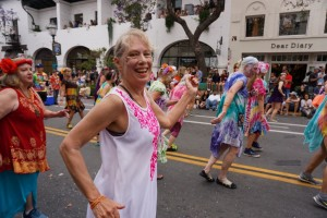 "Robin Stampe:   ""Dancing on Air!  I'm so glad we all were part of the Solstice Parade again this year. A week later, I'm still feeling high on joy and positivity! So many people came out to celebrate our community and local heroes. Glad to be a part of it!"